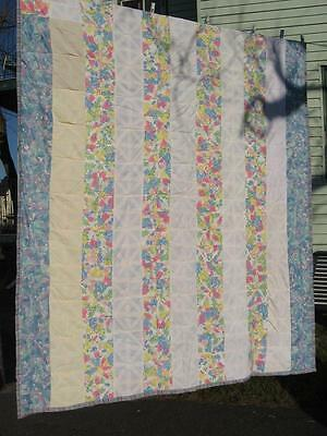 VINTAGE QUILT HAND MADE HAND POLYESTER 1960s USED
