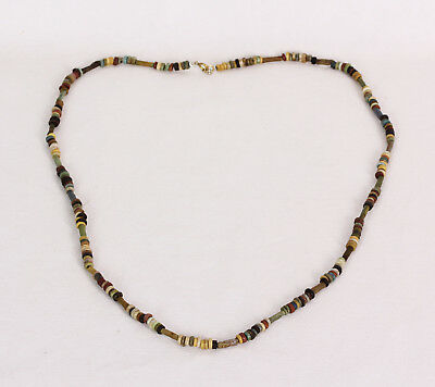 Fine Necklace Ancient Egyptian Multi-Color Faience Proto Ceramic Glass Beads 22""