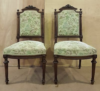 Pair of French Louis XVI Style Antique Side Chairs Original Upholstery
