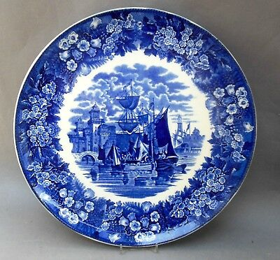 Antique Wedgwood Ferrara Wall Plaque ~ 31.5cm ~ Blue & White Ships Charger Plate