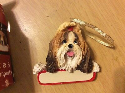 E&S IMPORTS Christmas Pet Lover SHIH TZU Brown Dog Ornament Gift Personalize It!