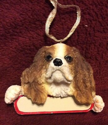 E&S IMPORTS Christmas Pet KING CHARLES CAVALIER BROWN Dog Ornament U Personalize