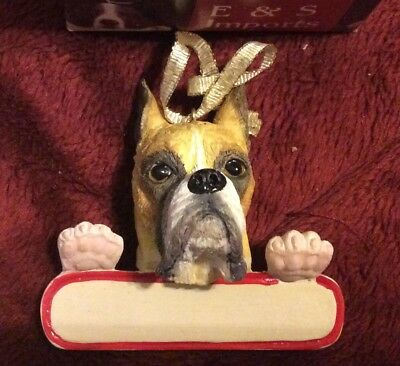 E&S IMPORTS Christmas Pet Lover BOXER Dog EARS UP Ornament Gift Personalize It!