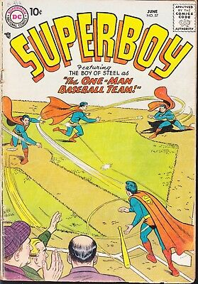 Superboy  #57 1957 Dc -Boy Of Steel- One-Man Baseball Team -Charlie Cannonball-
