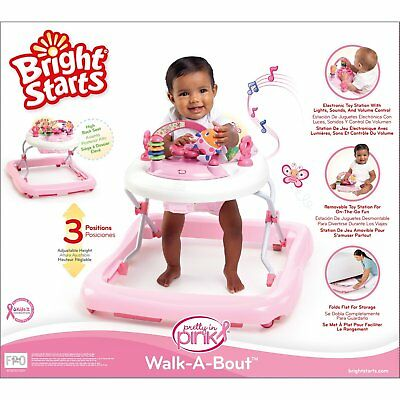 Baby Girl Pink Walker Play Activity Toddler Toy Music Sound Adjustable Height