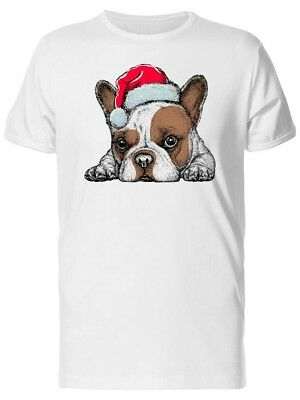 Sleepy Baby Bulldog Santa Hat Tee Men's -Image by Shutterstock