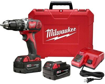 MILWAUKEE 1/2 In Chuck Hammer Drill Driver Tool Kit 18 Volt Lithium Ion Cordless