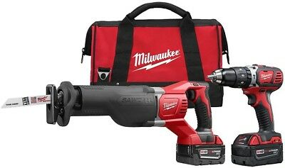 Milwaukee Hammer Driver Drill Reciprocating Saw 18 Volt Lithium Ion Cordless Kit