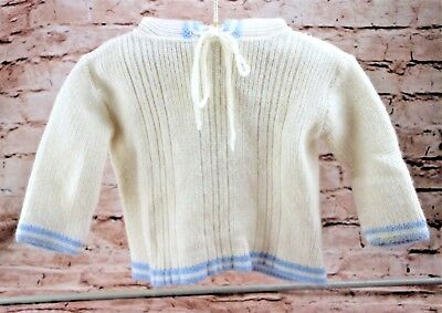 Vintage White Knit Hooded Sweater Boys Size 6-12 Months Zippered