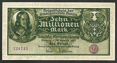 10 MILLIONEN MARK, Free City of Danzig 10000000 mark 1923-08-31 P-25b VF++XF