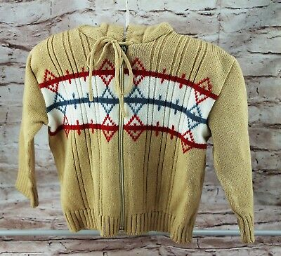 Vintage 1980s Kids Hood Sweater Brown Tan White Red Blue Long Sleeve Zipper