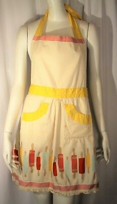 Martha Stewart Collection Apron Rolling Pins Yellow Red 2-Pocket Tie Back