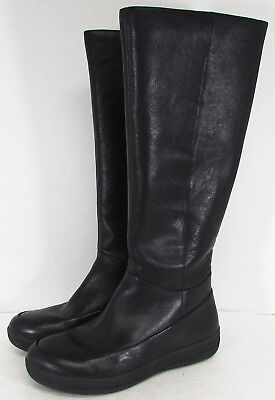 523a65aca843d FitFlop Womens FF-Lux Knee Boot Round Toe Leather Shoes