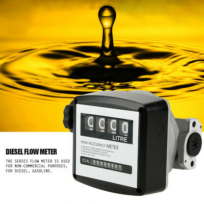 "High Accuracy 1"" 4-Digit Mechanical Diesel Gas Fuel Oil Flow Meter Counter Gauge"