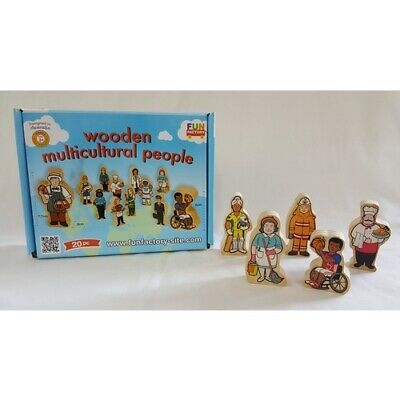 Multicultural People DIFFERENT ETHNICITIES Occupations WOODEN Dolls Educational