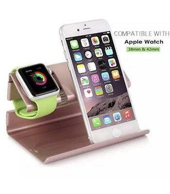 ROSE GOLD Acrylic Stand Charger Charging Dock Station For APPLE WATCH + iPHONE