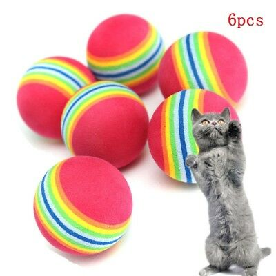 6x Funny Colorful Cat Kitten Pet Soft Foam Rainbow Play Balls Activity Toys New