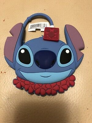 NEW DISNEY AULANI STITCH Blue Rubber Mirror Red Flower Lei Hawaii