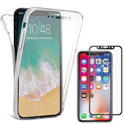 Film Verre Trempe Etui Coque Housse 360° Clear FULL TPU Gel Apple Iphone X 5.8""