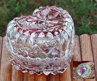 Vintage Hofbauer Byrde Lead Crystal Glass Heart Dish Red To Clear Germany NICE!