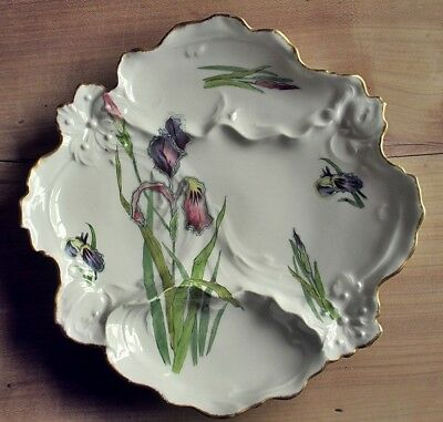 Rare antique French asparagus Limoges fine porcelain plate circa 1906-1935