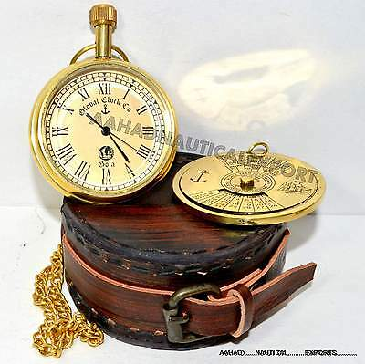 Vintage Style Nautical Brass Antique Watch Brass 100 Year Calander With Box