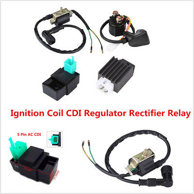 ATV Quad 4Wheeler Ignition Coil CDI Regulator Rectifier Relay For 50 70 90 110cc
