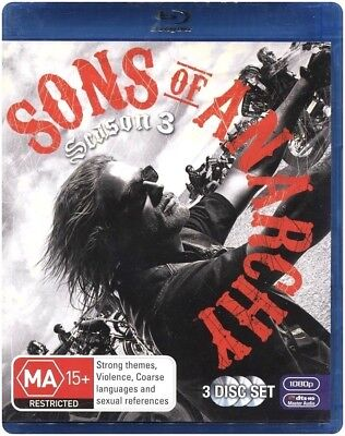 "Clearance!! ""SONS OF ANARCHY: Season 3"" Blu-ray, 3-Disc Set - Region [B] NEW"