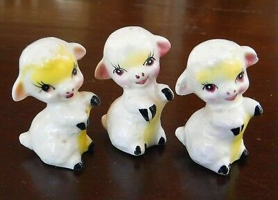 3 cute little Lambs Sheep Japan Vintage Tea Figurines Porcelain Lot set