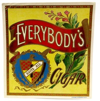 "Vintage Everybody's Embossed Cigar Box Label - 4.25"" x 4.5"""