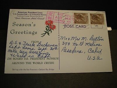 SS PRESIDENT MONROE, AMERICAN PRESIDENT Lines Naval Cover CHRISTMAS ITALY