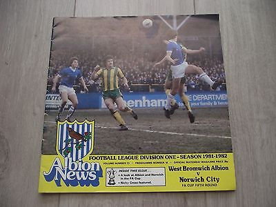 1981-82    West Brom v Norwich  -  F.A. Cup Round 5