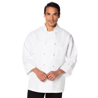White Knotted Button Chef Jacket Long Sleeve Chef Coat Double Breasted