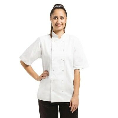 White Chef Short Sleeve Jacket Double Breasted Popper Buttons