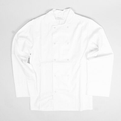 100% Cotton White Chef Jacket Chef Coat Double Breasted Popper Buttons