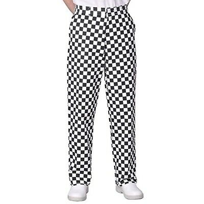 Black & White Check Chef Trousers Bakers Trousers Drawstring 4 Pockets Elasticat