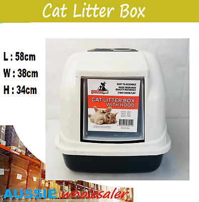 Cat Pet Kitten Toilet Litter Box Tray Portable Hooded House Handle Scoop Carrier