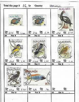 MALAWI...# 235//631  ( BIRDS )...1975/94...8 Diff...Used...SCV $ 16.60