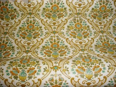 Vtg Retro Green Teal Gold MCM Original YORK Damask Wallpaper 1960s 1970s Vinyl