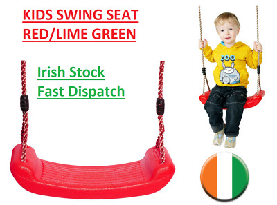Kids swing seat with rope with adjust for Outdoor climbing frame Red Green-Lime