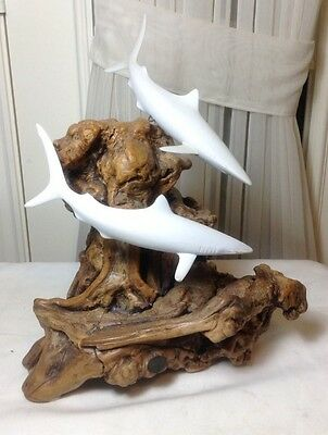 "Vintage Beautiful John Perry 2 Sharks Sculptures On Burl Wood Base 14.25"" H"