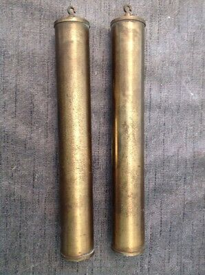 ANTIQUE BRASS CLAD Vienna WALL CLOCK WEIGHTS PAIR 1.45kgs Each 260x35mm