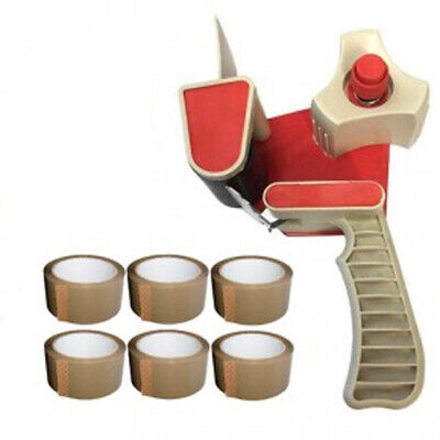 "2"" Tape Gun Dispenser + 6 Rolls Of Brown Packing Tape 48Mm X 50M"
