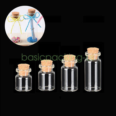 1-10ML Blank Tiny Small Transparent Message Bottles Vials Glass Bottle With Cork
