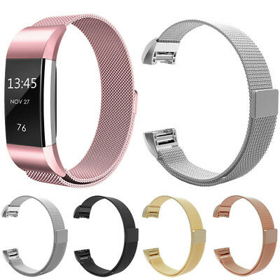 Magnetic Milanese Stainless Steel Watch Band Strap For Fitbit Charge 2 UK GE8G