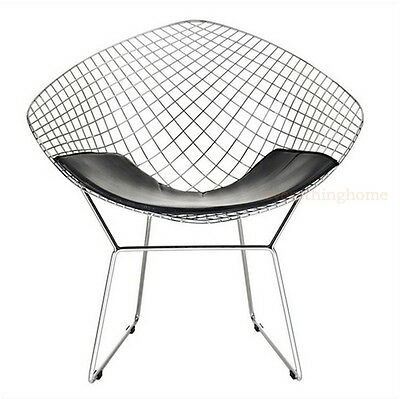 Diamond Bertoia Dining Lounge Chair Black Or White Pad Steel Wire Silver Chrome