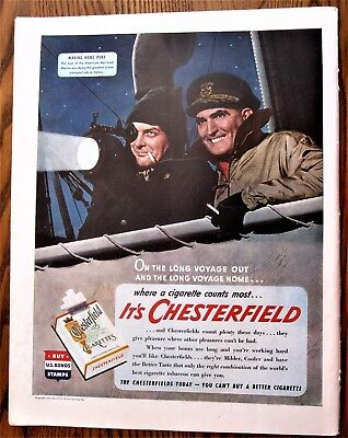 Merchant Mariner Signals Home Base WWII Chesterfield Cigarette Ad