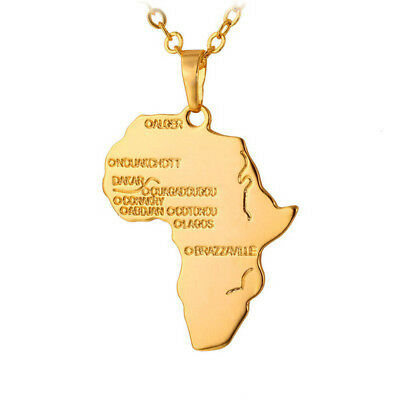 AFRICA MAP PENDANT NECKLACE Chain Jewellery Gift Idea Travel Atlas African