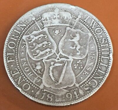 1894 Great Britain Silver One Florin Two Shilling Nice Original Coin - TCC