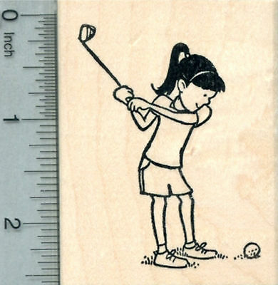 Golf Rubber Stamp, Girl or Woman Golfer with Club J30402 WM